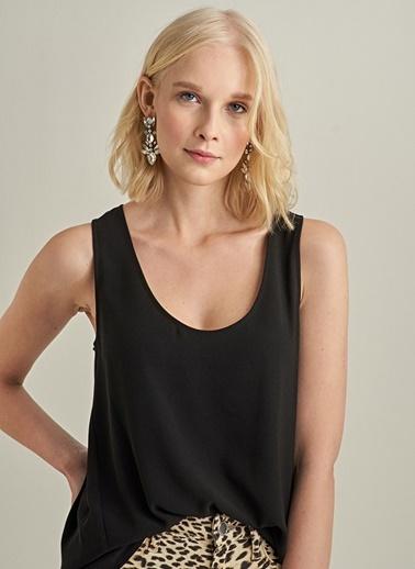 Ng Style Krep Kumaşlı Kolsuz Bluz Siyah